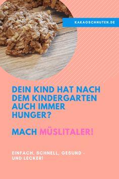 Müslitaler sind der perfelkte Snack für unterwegs. Einfach in der Zubereitung, gesund und vor allem ziemlich lecker.  Bei Bedarf können sie auch vegan oder zuckerfrei gebacken werden.  #kinder #kindergarten #backenfürkinder #backen #snack #brotbox #kindergarten #bentobox #unterwegs #essenfürkinder #gesundesessen #gesundeernährung #müslitaler #backen Oatmeal, Beef, Vegan, Breakfast, Healthy, Kindergarten, Boards, Food, Desserts