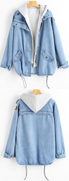 Button Up Denim Jacket And Hooded Vest. Button Up Denim Jacket And Hooded Vest. Zaful,zaf…- Source by avaephotos Winter Fashion Outfits, Sweater Fashion, Autumn Fashion, Fall Outfits, Outfit Winter, Sweatshirt Outfit, Blouse Outfit, Daily Fashion, Style Fashion