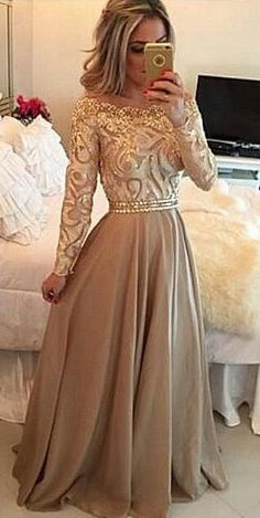 Champagne Prom Dresses, Beading Prom Dresses, Long Prom Dress,Lace Prom Dresses, Long Sleeves Prom Dress, A line Formal Dresses