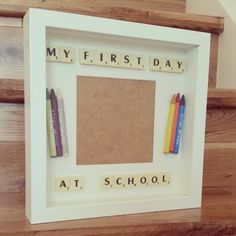 Perfect memory frame for you child's first day at school! Decorated with crayons or pencils – just add photo. A name can also be added too for a more personal touch. Item will be sent out recorded delivery.