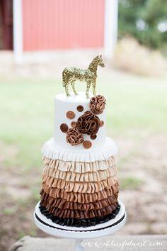 Gorgeous ruffle cake by Caroline's Cakery #horseparty #horsepartyideas #girlsbirthdayideas #partystyling #partydecor #ablissfulnest #girlsbirthday