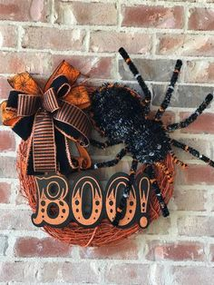 Your place to buy and sell all things handmade Boo Halloween, Halloween Spider, Halloween Themes, Halloween Crafts, Halloween Decorations, Halloween Door Wreaths, Wreaths For Front Door, Black Wreath, Diy Door