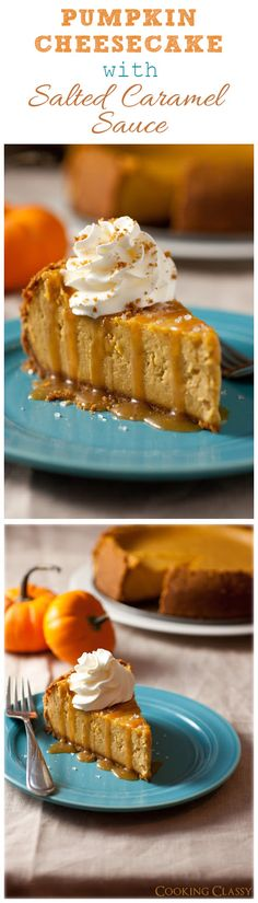 Pumpkin Cheesecake with Salted Caramel Sauce - this is truly the ultimate fall cheesecake! It's so incredibly good! Gonna try this with crust made from sugarfree shortbread cookies, Splenda, and sugar free salted carmel sauce. Pumpkin Cheesecake, Pumpkin Dessert, Cheesecake Recipes, Dessert Recipes, Caramel Cheesecake, Pumpkin Pumpkin, Pumpkin Spice, Fall Desserts, Just Desserts