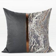 "2 Black /& Yellow Faux Leather Cushion Covers Diagonal Cross 16/"" 18/"""