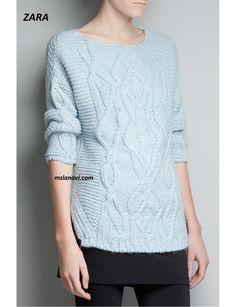 Вязаный пуловер с широким араном от ZARA - СХЕМА http://mslanavi.com/2016/07/vyazanyj-pulover-s-shirokim-aranom-ot-zara/
