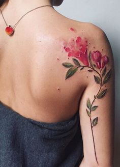 Pis Saro watercolor flower tattoo                                                                                                                                                                                 More