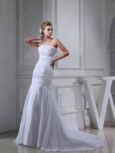 Trumpet/Mermaid Strapless Taffeta Court Train Appliques Wedding Dresses -$251.49
