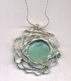 Hey, I found this really awesome Etsy listing at https://www.etsy.com/listing/124485934/roman-glass-necklace-designer-sterling