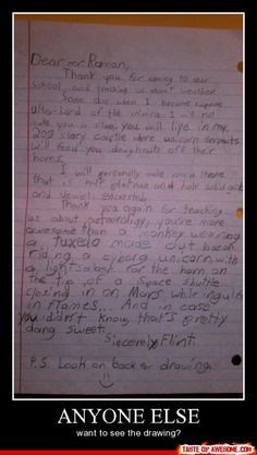 That's one imaginative kid...he should become a writer or something.