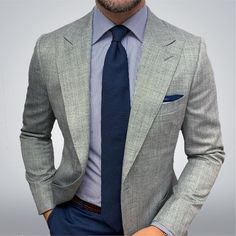 Classy Suits, Cool Suits, Ropa Semi Formal, Grey Sport Coat, Sport Coats For Men, Mens Sport Coat, Formal Attire For Men, Blue Suit Men, Der Gentleman