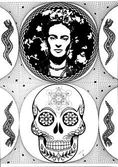 Le cycle.  Découpage et dessin de géométrie sacrée créé pour l'exposition collective de frida kahlo à Lausanne.  Format A3