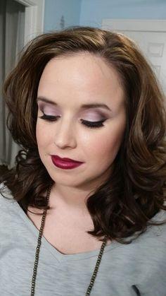 Purple eyeshadow with berry lips. Makeupbywendyzerrudo.com  Dfw makeup artist. Mckinney TX. North dallas. MAC pro artist. Lashes.