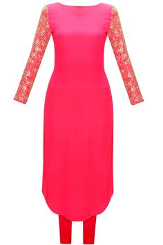 Hot pink embroidered kurta set available only at Pernia's Pop-Up Shop.