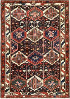 """Persian Bakhtiari rug, 4'6"""" x 6'4"""""""