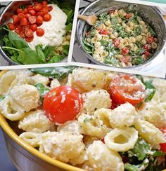 Garlic Pasta Salad - NO MAYO! Made with stuff leftover in your fridge - ricotta cheese, pasta, spinach, and tomatoes