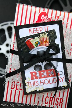 GREAT gift for TEENS! Attach a movie card to this printable! Keep it REEL!