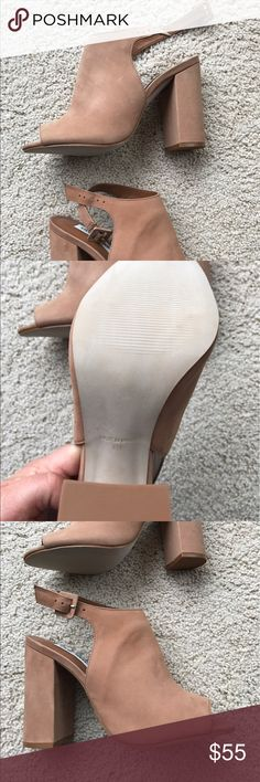 "Steve Martin booties size 9 Never worn! Tan, open toe heels / booties. About a 4"" heel. Steve Madden Shoes Ankle Boots & Booties"