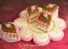 petit four cookies and cookie plate.  cute!