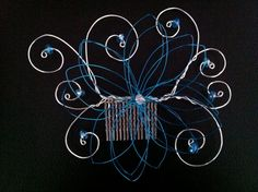 Flower Hair Comb Blue. A Wire Hair Comb/ Pin/ by WirePrincess