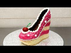 Shoe Cake Idea - How To Make by CakesStepbyStep. Today I made a Shoe Bakery inspired cake. I show how to make a high heel wedge shoe using vanilla sponge cake, buttercream, modeling chocolate and a template. Cake Roses, Rose Cake, Shoe Cakes, Cupcake Cakes, Purse Cakes, Converse Cake, Cookies Cupcakes And Cardio, Buttercream Cake Decorating, Camo Wedding Cakes