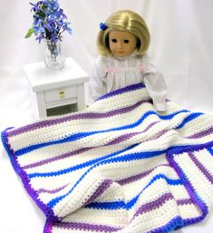 Crocheted DolDoll l Blanket  American Girl  Lap by DollPatchworks