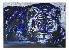 Chillender Tiger - Malerei Gemälde Unikat blau schwarz weiß Schwarzer Hengst - Pferdebild Malerei Gemälde Unikat www.burgstallers-art.de/online-shop