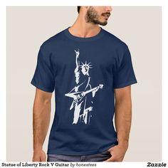 Statue of Liberty Rock V Guitar T-Shirt