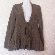 """ANTHROPOLOGIE """"Sparrow"""" Chunky Cardigan Chunky knit. Very cozy and warm. Figure flattering. Taupe brown. Front tie. A-line cut. Waist on back accentuated. Shawl neck. This sweater is NWOT!!! Materials are 50% acrylic, 32% wool, 16% nylon, 2% spandex. Anthropologie Sweaters Cardigans"""