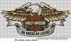 Harley Davidson logo a1277 on International Cross Stitch