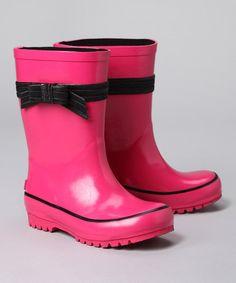Fuchsia Bow Rain Boot #zulily #zulilyfinds