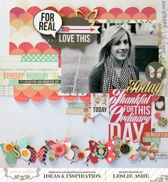 TERESA COLLINS DESIGN TEAM: Thankful For This Ordinary Day - a Daily Stories Layout by Leslie Ashe