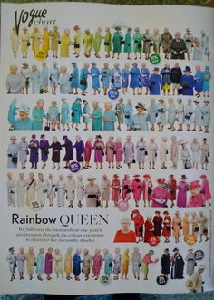 Vogue have created this fantastic infographic on the back page of their May issue - the Queen's colour blocking over a whole year! Must find this mag and invest.