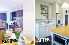 This incredible kitchen before and after featured Martha Stewart's Bedford Gray on the kitchen cabinets and Martha Stewart Living square bin pulls! | By Chris Kauffman