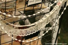 shabby chic swag made of lace and trim - bridal shower theme