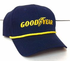 703a8616481 New GOODYEAR TIRES HAT Navy Blue amp Yellow Logo Rope Curved Bill Snapback  Men Women