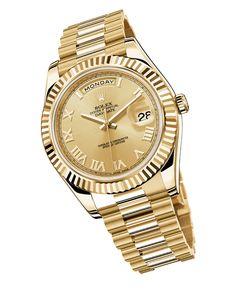 La montre Day-Date II de Rolex en or jaune http://www.vogue.fr/joaillerie/shopping/diaporama/montres-horlogerie-bracelets-en-or/21199/image/1113294#!la-montre-day-date-ii-de-rolex-en-or-jaune