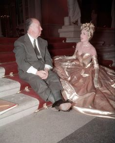 Alfred Hitchcock and Grace Kelly on the set of To Catch A Thief.