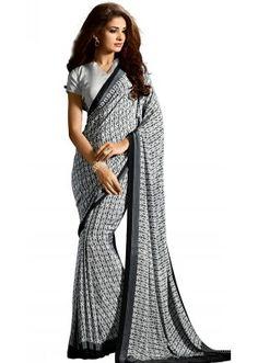 Casual Wear Black & White Crepe Saree - RKAM5107