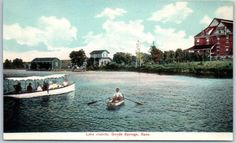 Geuda-Springs-Kansas-Postcard-LAKE-JUANITA-Boating-Scene-w-Houses-View-c1910s
