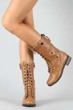 Bamboo Croft-02 Lace Up Military Mid Calf Boot