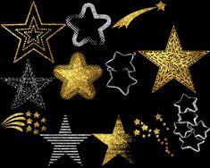 Stars Clip Art Glitter Frame, Frame Clipart, Christmas Clipart, Blue Butterfly, Ephemera, Digital Art, Clip Art, African, Kawaii