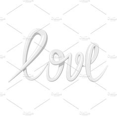 Love calligraphy 3D text. Wedding Card Templates