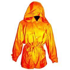 9f146c156 Preowned 1990s Isaac Mizrahi 100% Silk Tangerine Trench Thin Rain Coat... (