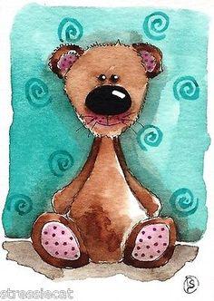 ACEO Original Watercolor Painting Fantasy Folk Art Whimsical Animals Teddy Bear | eBay