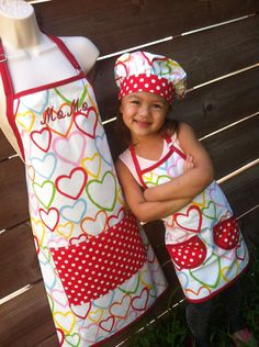 Items similar to Hearts Mom and daughter Child Chef Set and Apron on Etsy Toddler Apron, Kids Apron, Toddler Girl, Sewing Hacks, Sewing Crafts, Chef Costume, Ruffle Apron, Childrens Aprons, Personalized Aprons