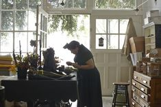 I love this workspace. I always thought it would be cool to have a studio with big open window like this! Claudia Schwartz in Bell'occhio San Francisco Workshop Halloween Decorations, Halloween Party, Happy Halloween, Black Dinnerware, San Francisco, Vintage Vignettes, Candle Stand, Open Window