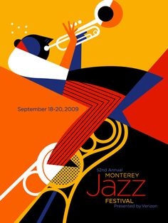 """JAZZ - """"Monterey Jazz Festival"""", Poster - Illustration and Graphic by Pablo Lobato Argentine). Poster Jazz, Dm Poster, Kunst Poster, Batman Poster, Poster Ideas, Graphic Design Posters, Graphic Design Illustration, Graphic Design Inspiration, Graphic Designers"""