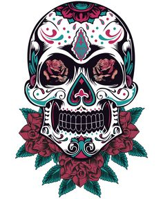 Tattoo sugar skulls, sugar skull art, mexican tattoo, skull illustration, m Mexican Skull Tattoos, Sugar Skull Tattoos, Sugar Skull Art, Mexican Skulls, Sugar Skulls, Skull Girl Tattoo, Girl Skull, Skull Tattoo Design, Dibujos Sugar Skull