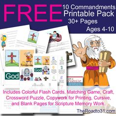 Teach your elementary ages children all about the Ten Commandments with this FREE Printable pack with all sorts of fun games and activities including Scripture memory and copywork.