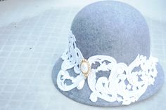 Designer wool cloche hat  20s inspired hat with lace by LALcouture, $65.00